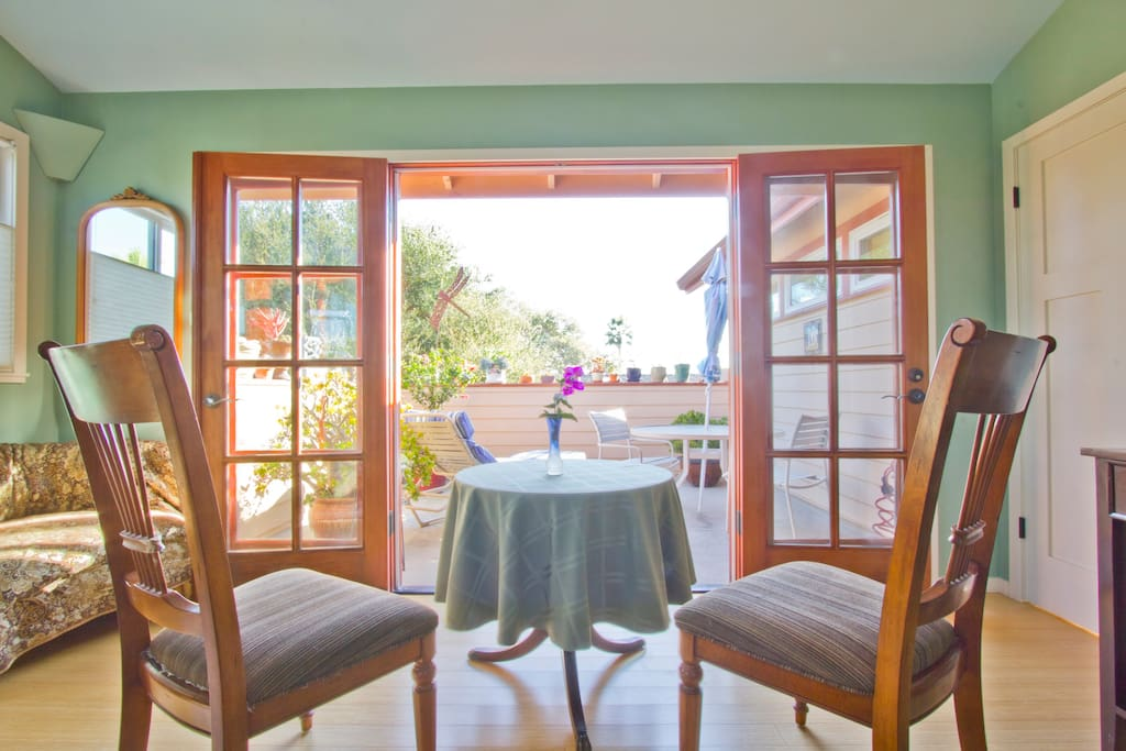 View of private deck from bedroom