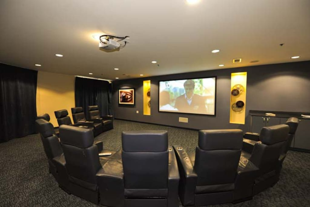 Media Room. Large Recliner Leather Chairs with drink holders. Great for watching the football games.