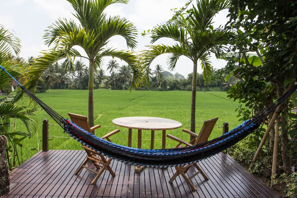 Bali Harmony Villas - Ubud - View of Rice fields and Pool deck hammock