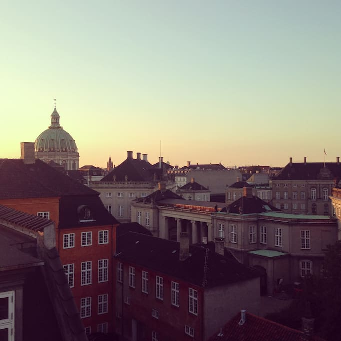 Rooftop view over Amalienborg where the Danish royal family lives. The Frederik's Church a.k.a. The Marble Church is in the background.