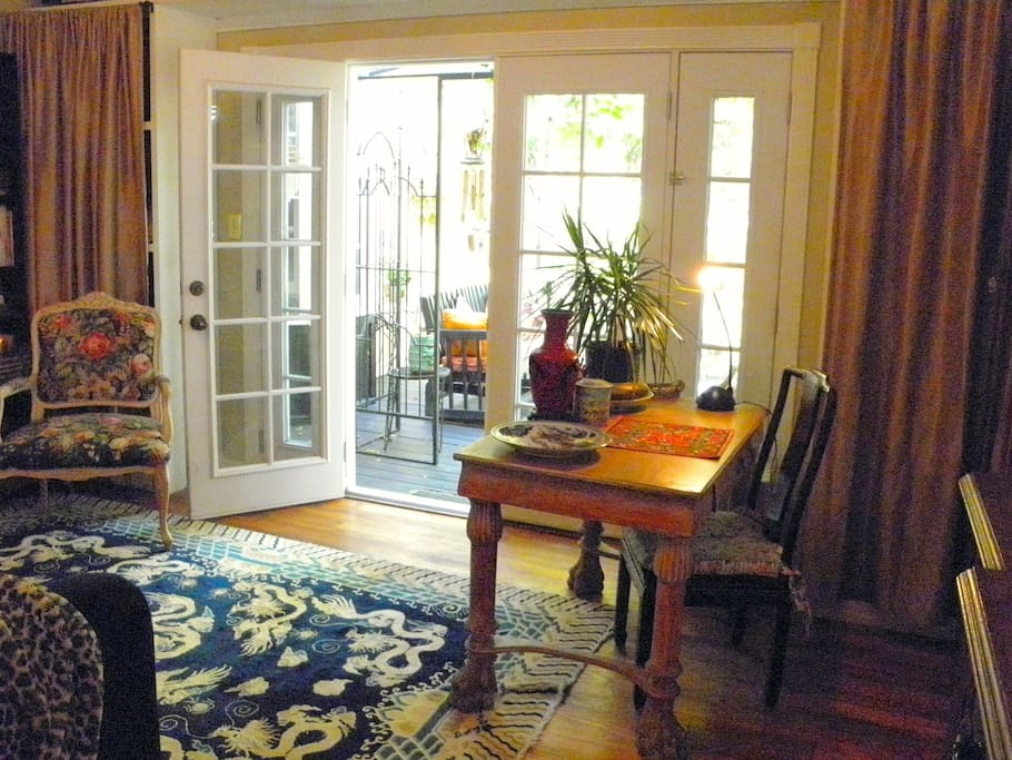 Master suite desk and french doors
