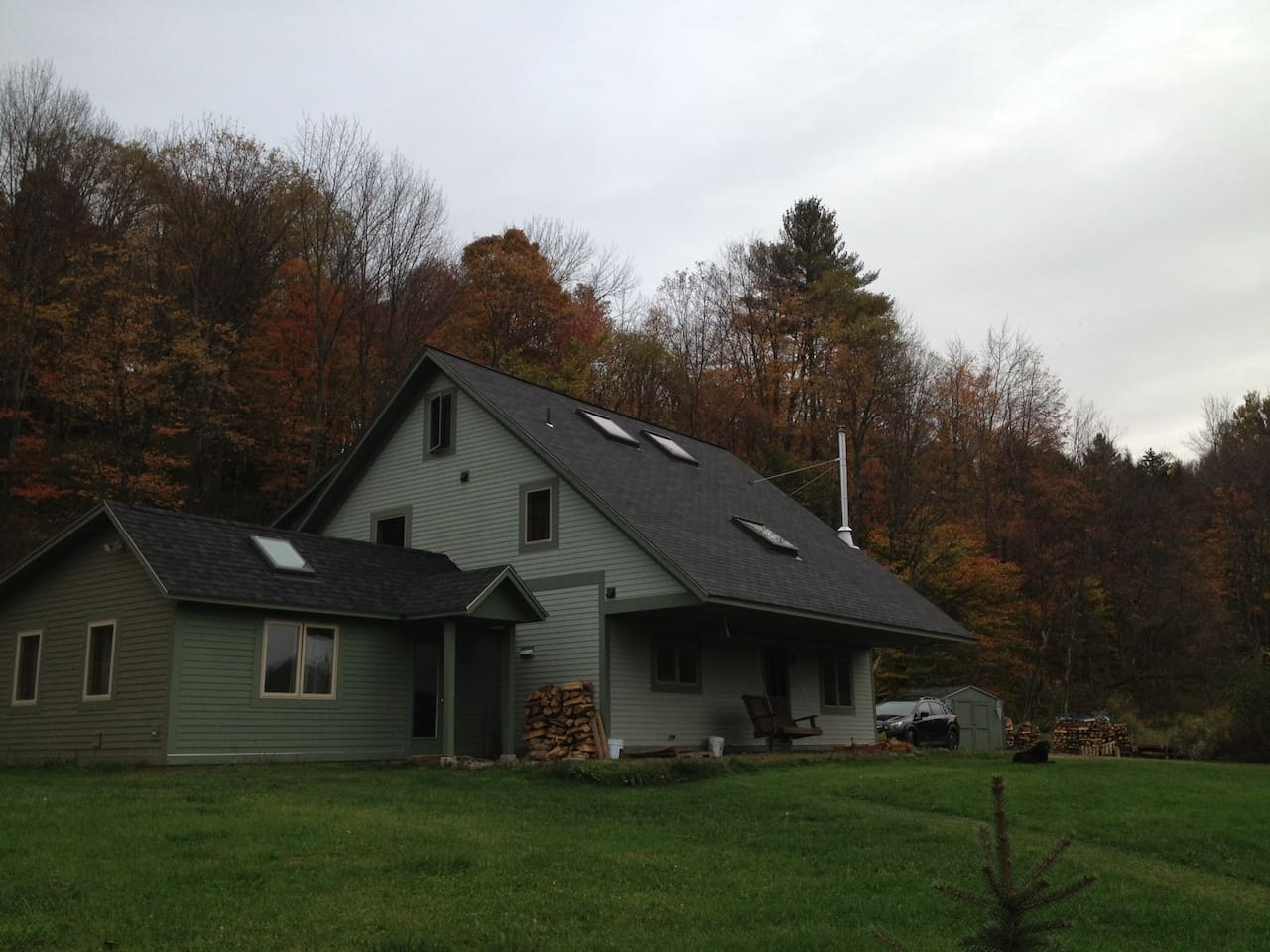 The available private rental suite sits to the left of our home..  views of Sugarbush mountains and a stone's throw to the Mad River...  a great location!