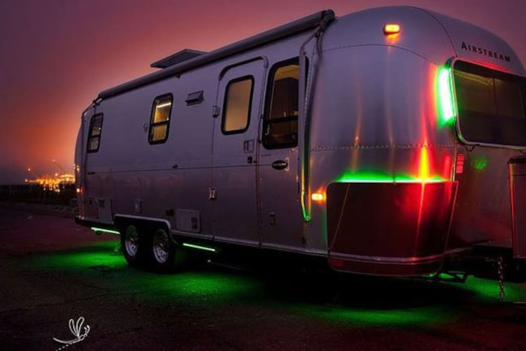 Our Airstream with green LED exterior lights