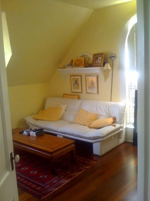 Guest bedroom with sofa and DVD TV