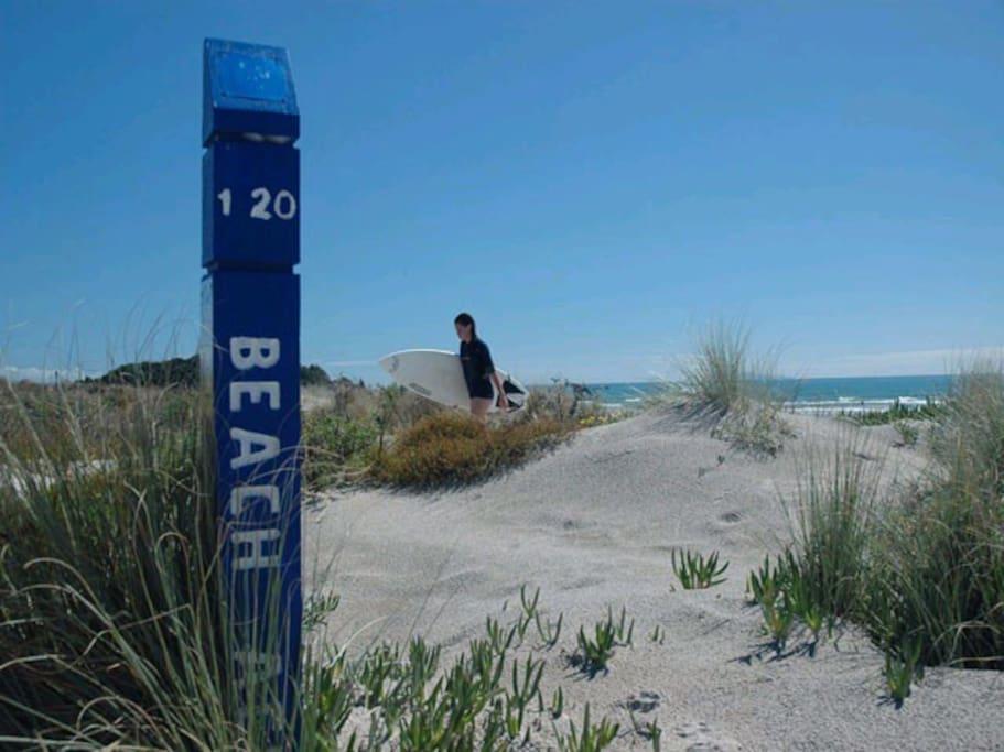 Beach is a 2 minute stroll!