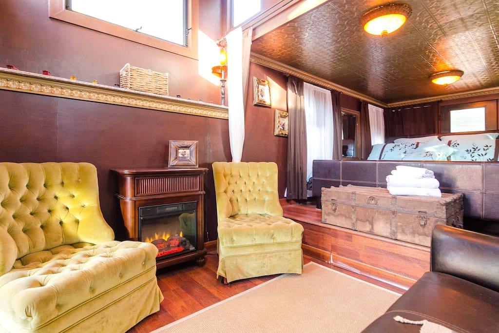Comfortable stuffed chairs, Electric fireplace California King Bed and more.