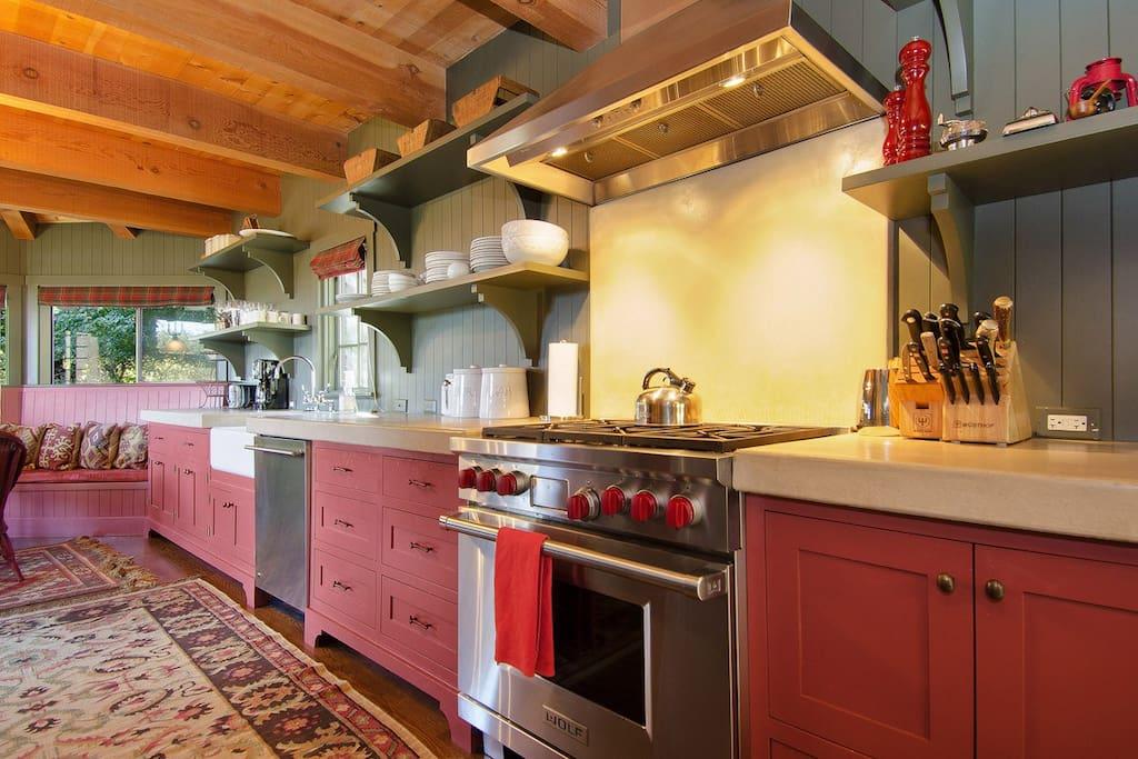 Chef's kitchen with Wolf range