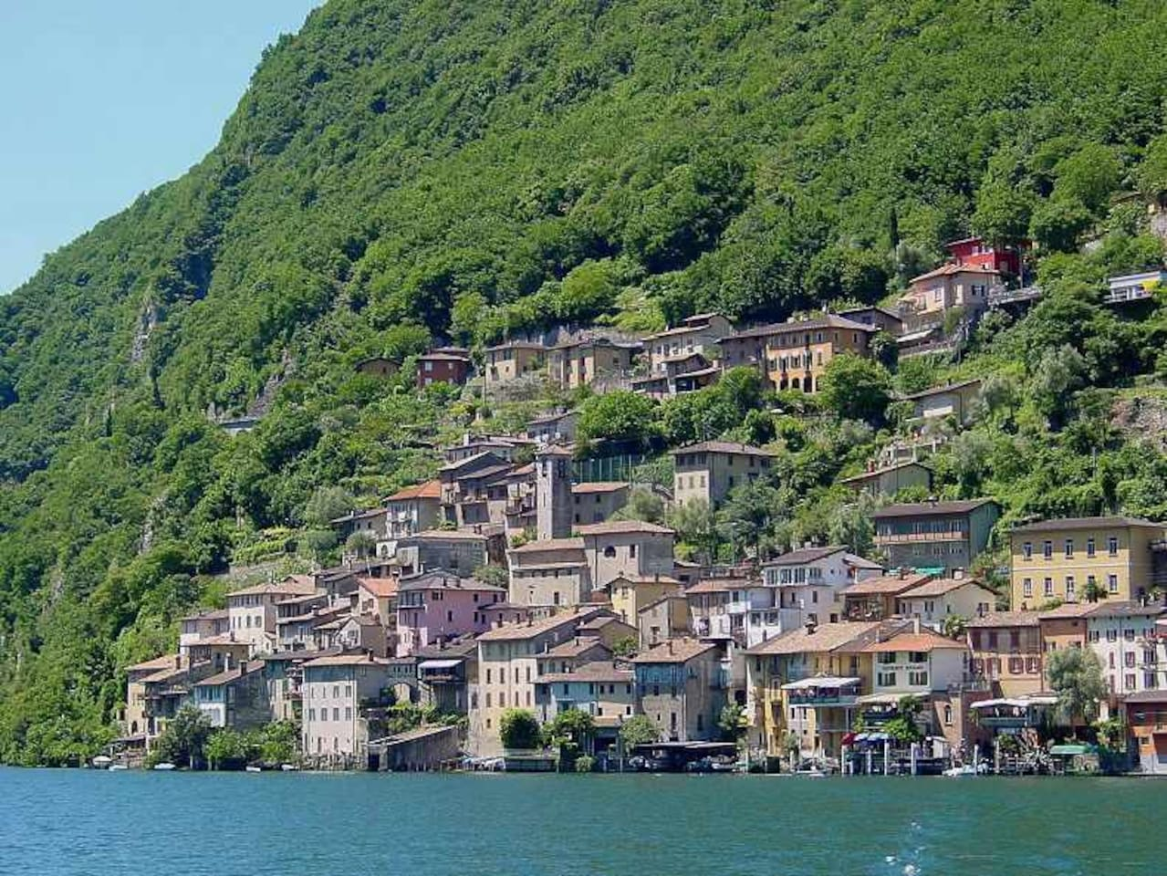 View of Gandria from the lake - the Casa Parrucchiere is right across from the church
