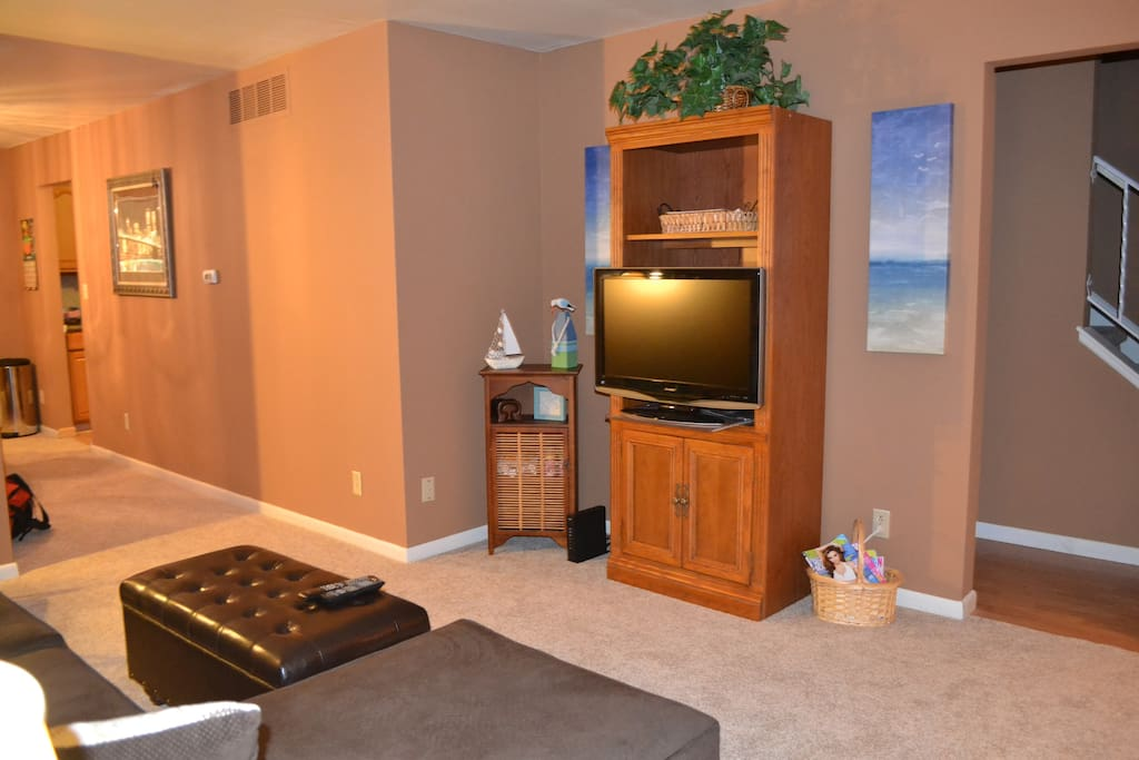 tv with dvd player in shared living room