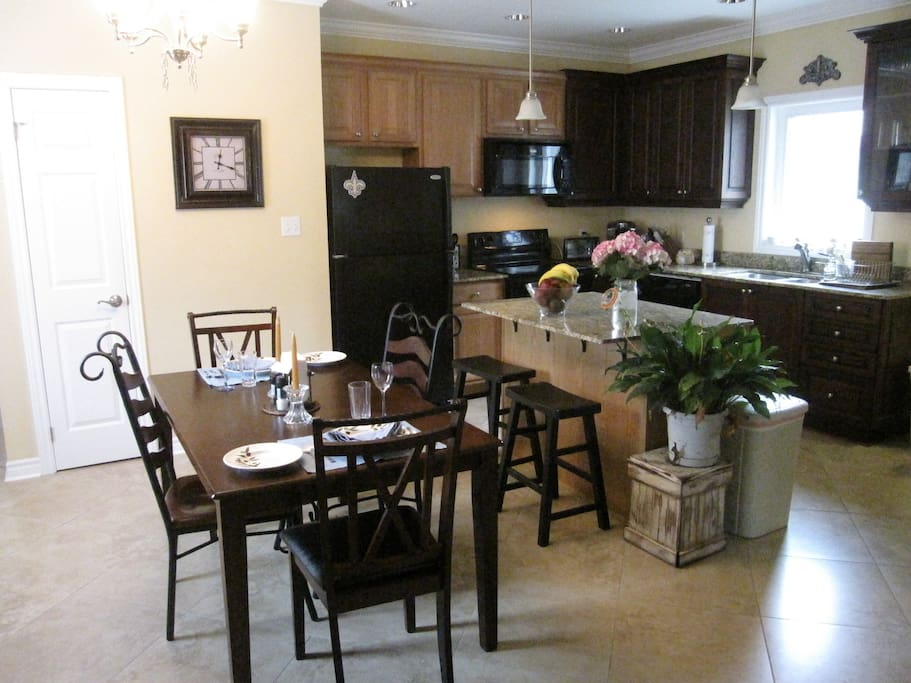 dining room table and shared kitchen