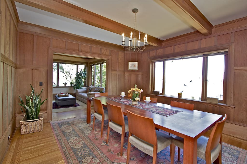 Large dining table seats 10 and has great water views.