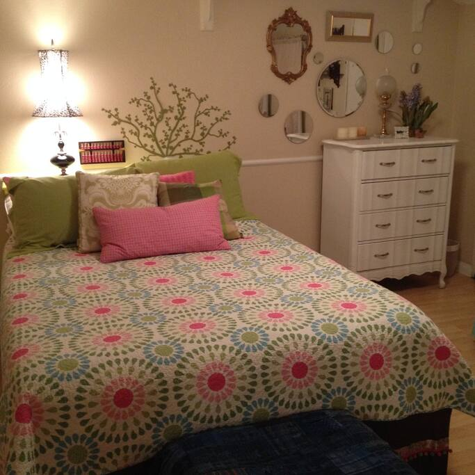 The bedroom with an abbacus on the wall above the bed for counting sheep!