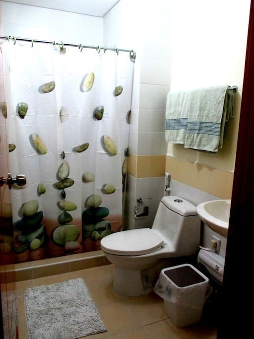Spacious toilet with hot and cold showers in the shower and sink.