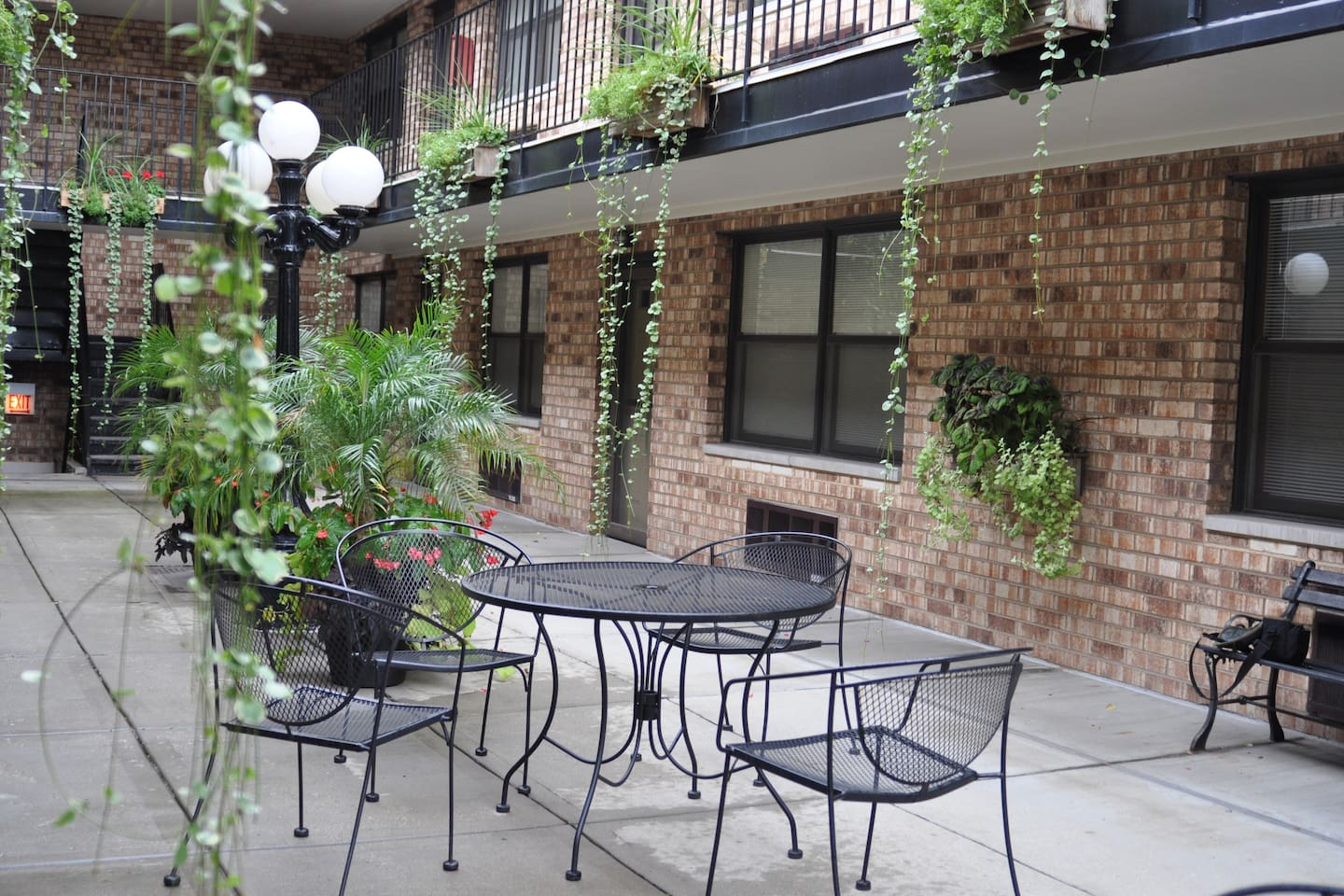 Shared and secure courtyard. We are on the main level so tables are easily accessible.