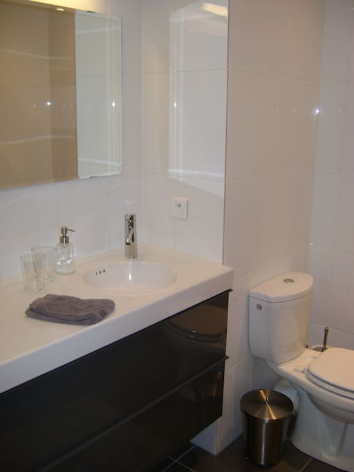Salle de bain privative avec wc et douche.