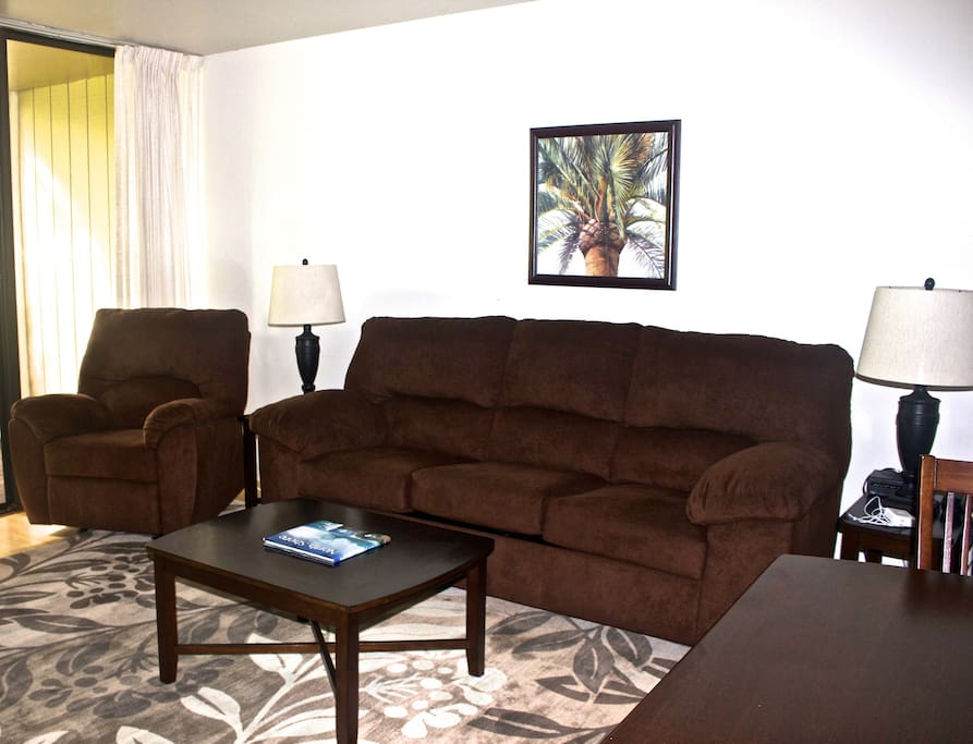 The living room features brand new furnishings including a pull-out bed from the couch to accommodate extra guests.