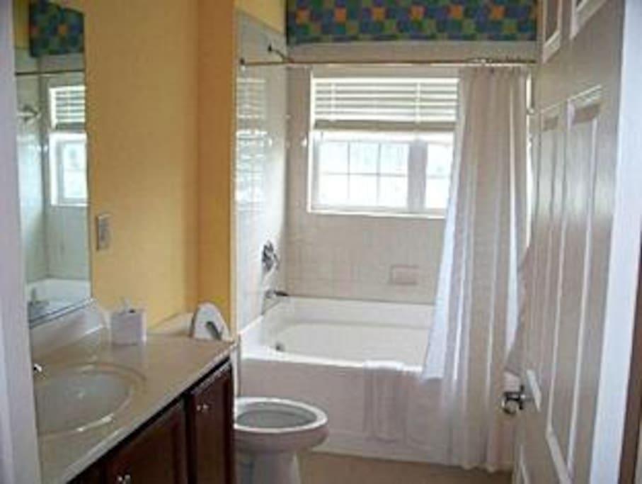 Nice size bathroom.