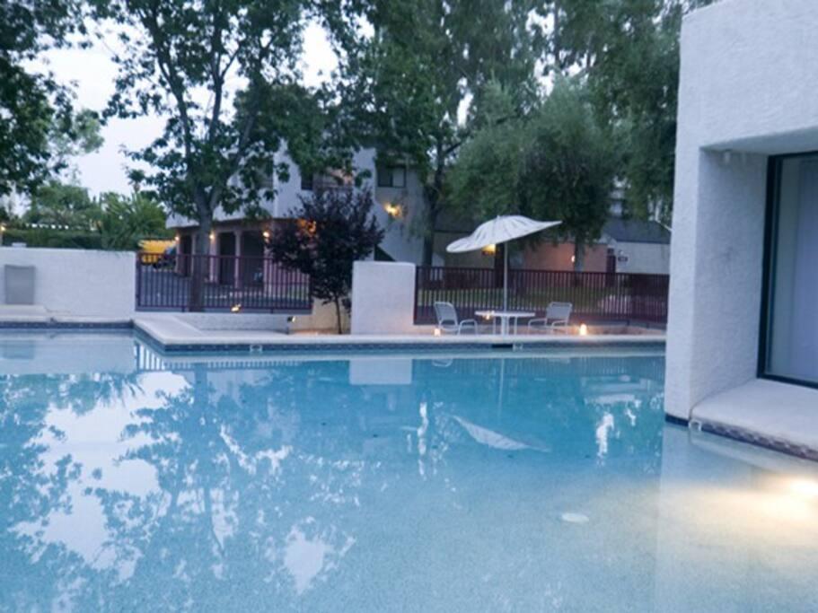Community pool, unheated.