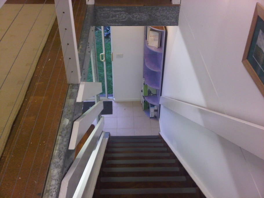 stairs in bungalow go up to living space and bedroom (all open plan)