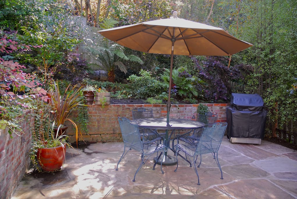Enjoy your morning cappuccino or afternoon BBQ in our garden.