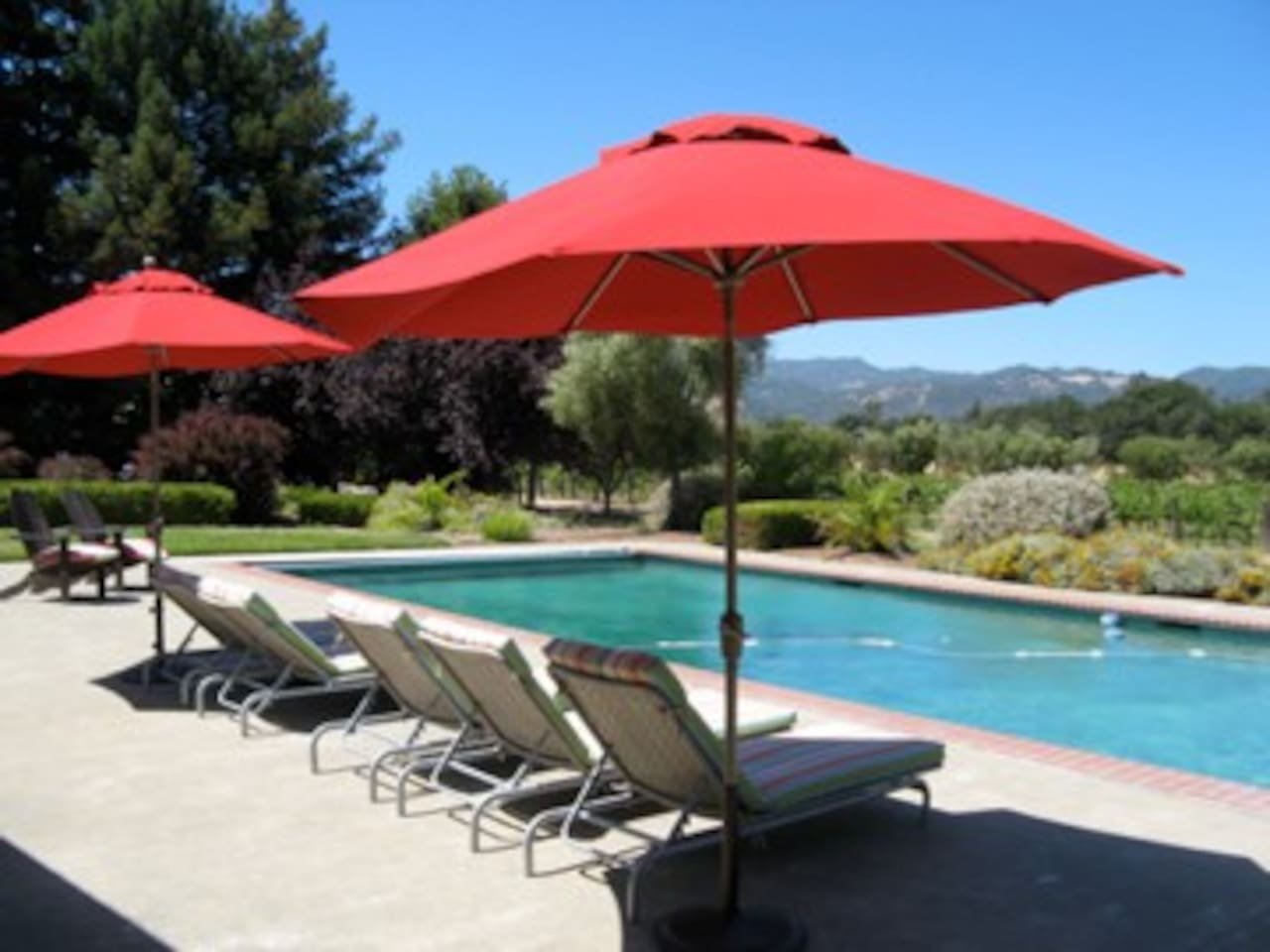 Private pool overlooking the pinot noir vineyard and Mayacamas mountains in the distance