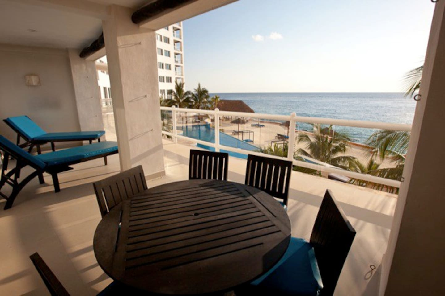 Large balcony stretches the length of the condo