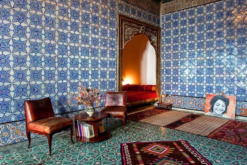 La chambre bleue, vue sur l'alcôve - ph.Nicolas Fauqué