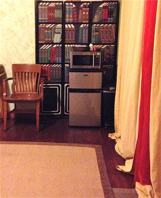 Room comes with A small refrigerator and microwave. Refrigerator is great for chilling your beer or wine and storing yummy leftovers. Microwave is great for popcorn and warming up your leftovers.