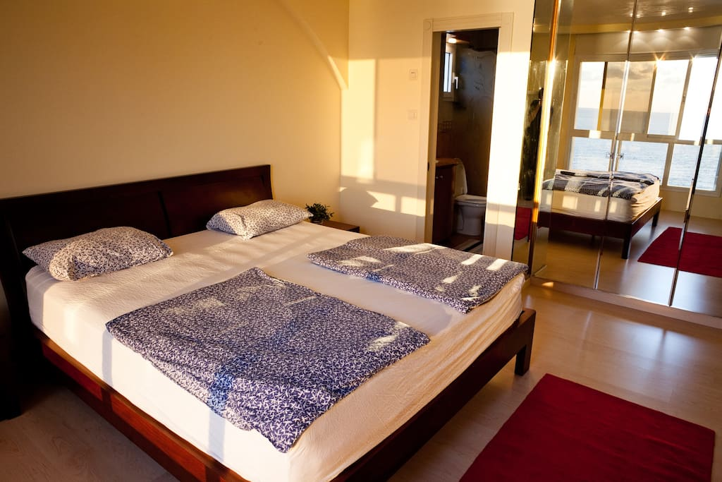 double bed with in-suite shower