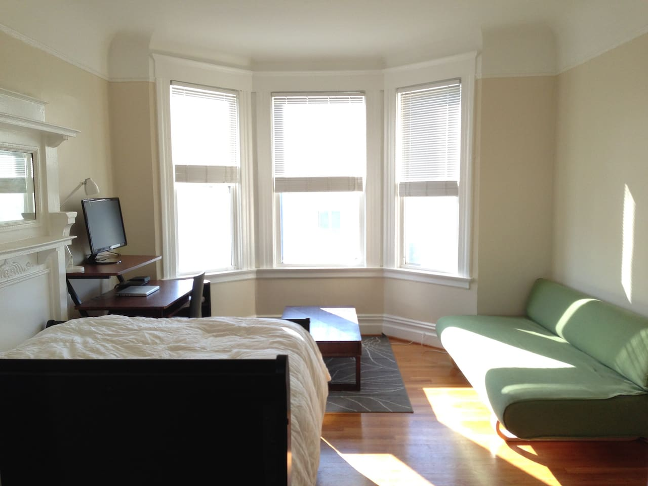This sunny, large Mission District room is centrally located and comfortable.