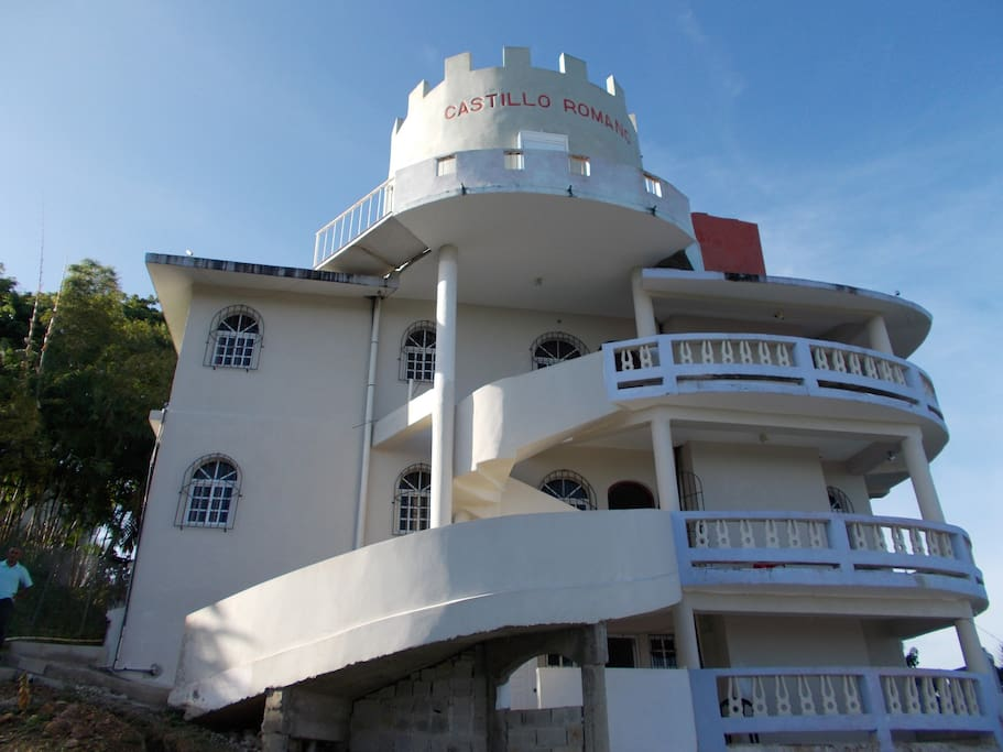 The rear of the castle above the swimming pool area.