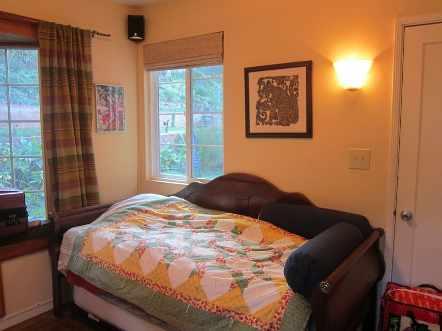 twin bed with trundle underneath (sleeps two comfortably)
