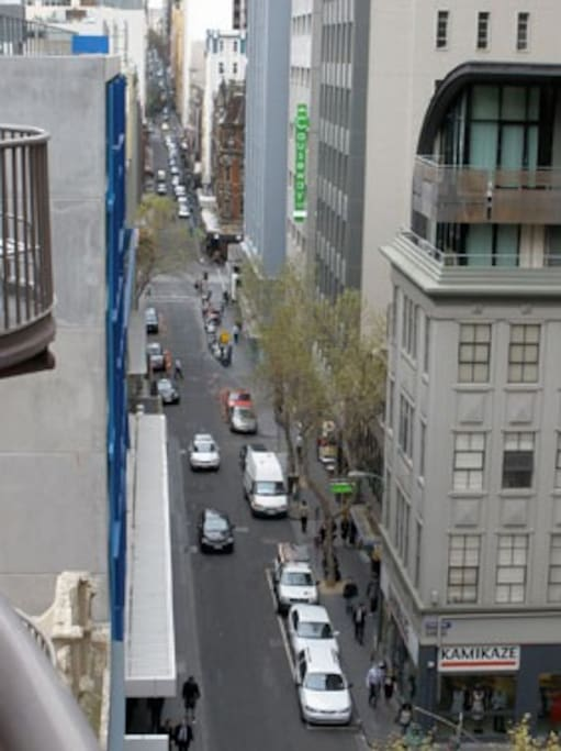 View from balcony down Little Collins Street.