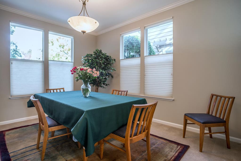 Formal dining room with table that expands for large group.
