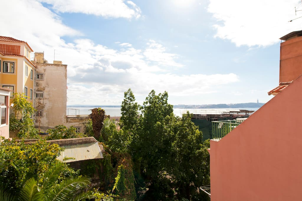 The view over the Tagus River from the balcony of our Living Room