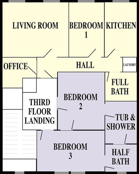 Floorplan of 3rd floor. Corporate Apartment is in yellow. The two bedroom suite, in blue, is also available in another listing.