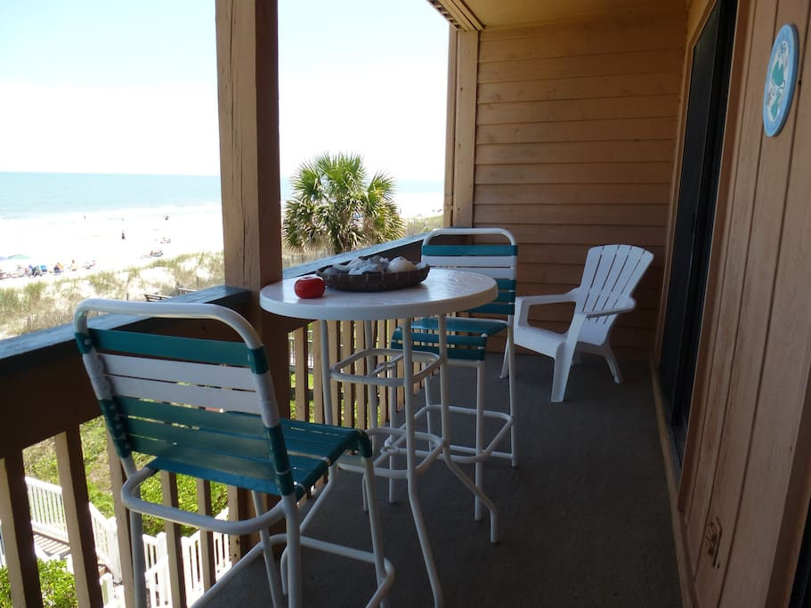 Oceanfront deck for dining and relaxing