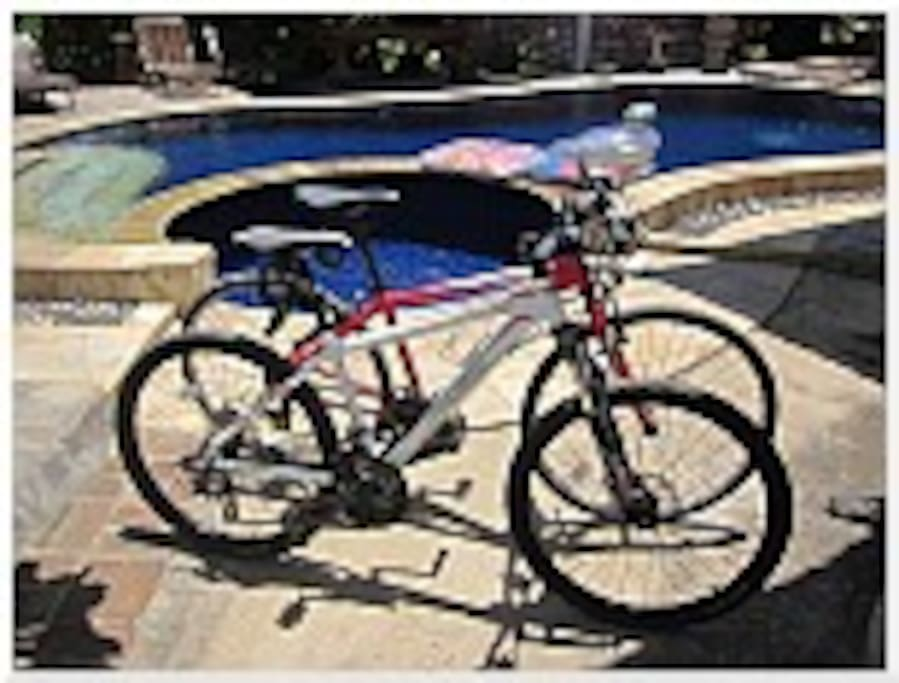 We have two mountain bikes which guests can rent for free!