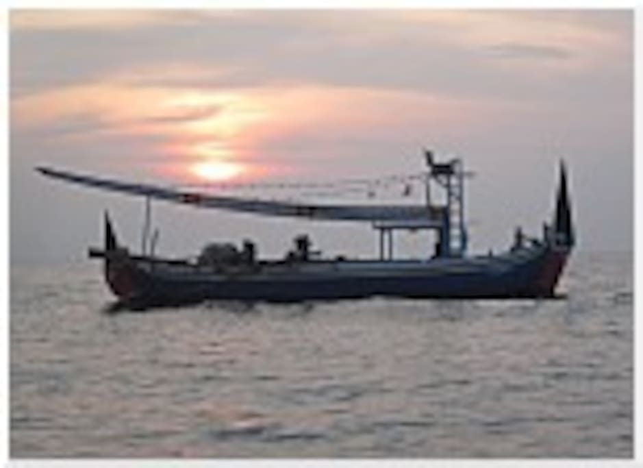 We are located in a tradional fishing village and it is great to see these old fishing boats going out at sunset