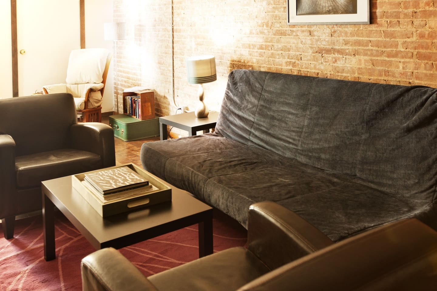 sink into comfy leather chairs. Relax in the rocking chair. Exposed brick throughout.