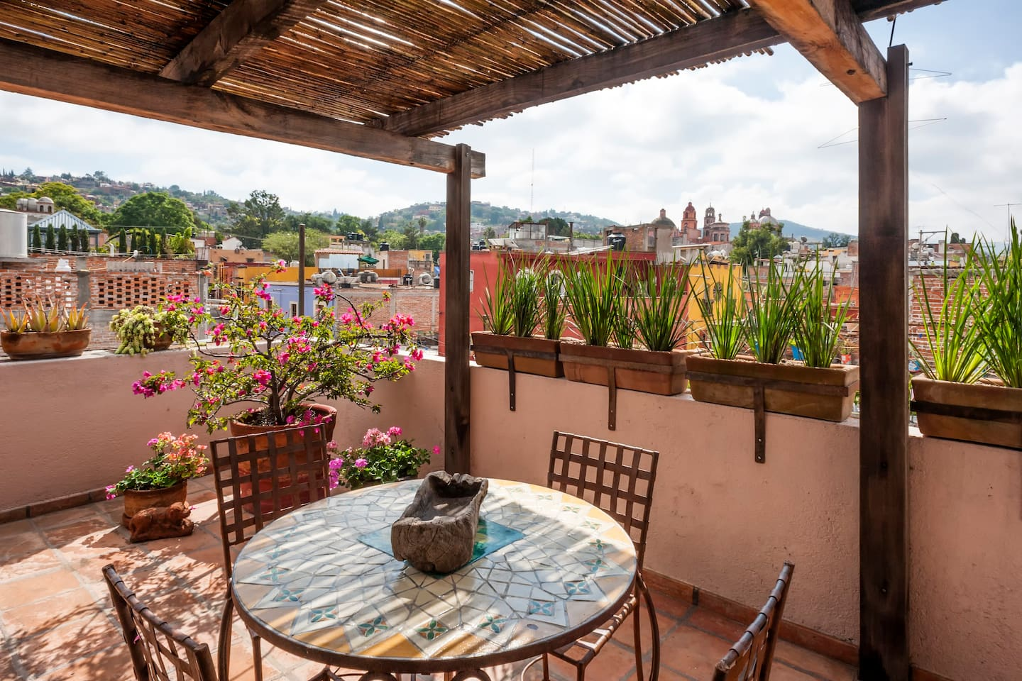 Roof top patio with awesome views. The casita has direct access but is shared with the other casitas.