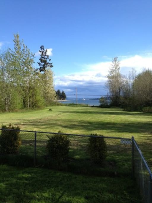 This is the view from the front of our property.  About every hour the Seattle - Bremerton ferry passes by.