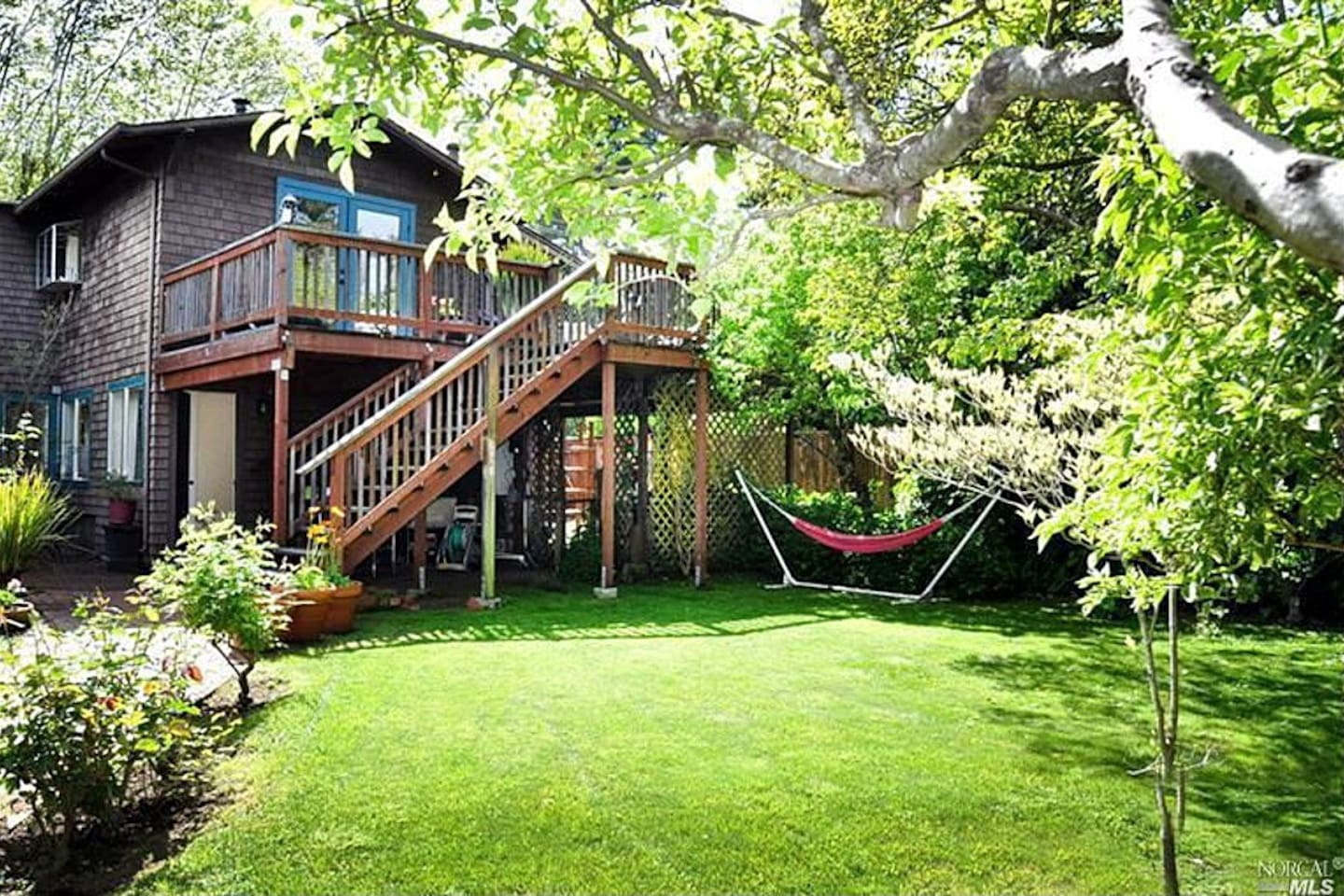 Backyard with large entertaining deck