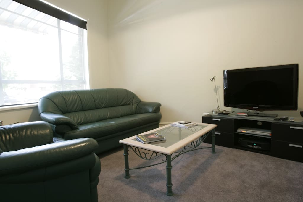 Comfortable lounge, television and loads of music available.