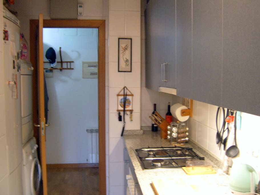 Kitchen, with view of foyer (flat entrance) in background.  Fridge and washer/dryer on left