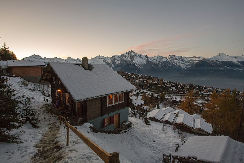 Sunset in the winter, view to the chalet