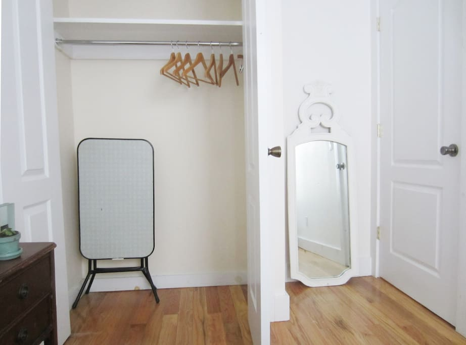 closet with folding table