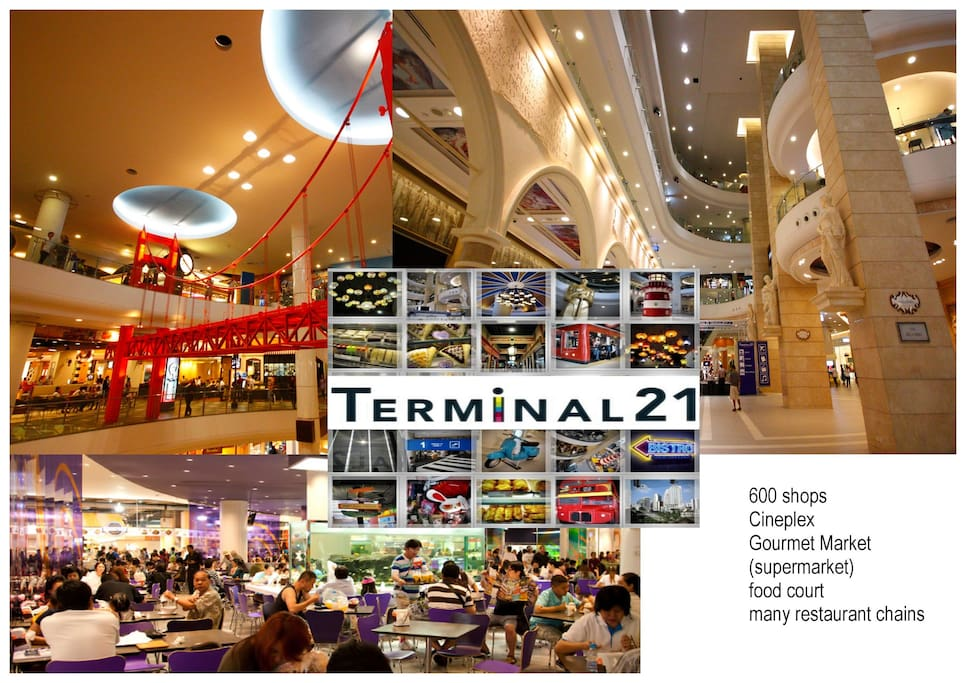 2 XXL Shopping Malls just minutes away! Only 2min rideto the TERMINAL 21 Megamall and Central Plaza 9 Mall