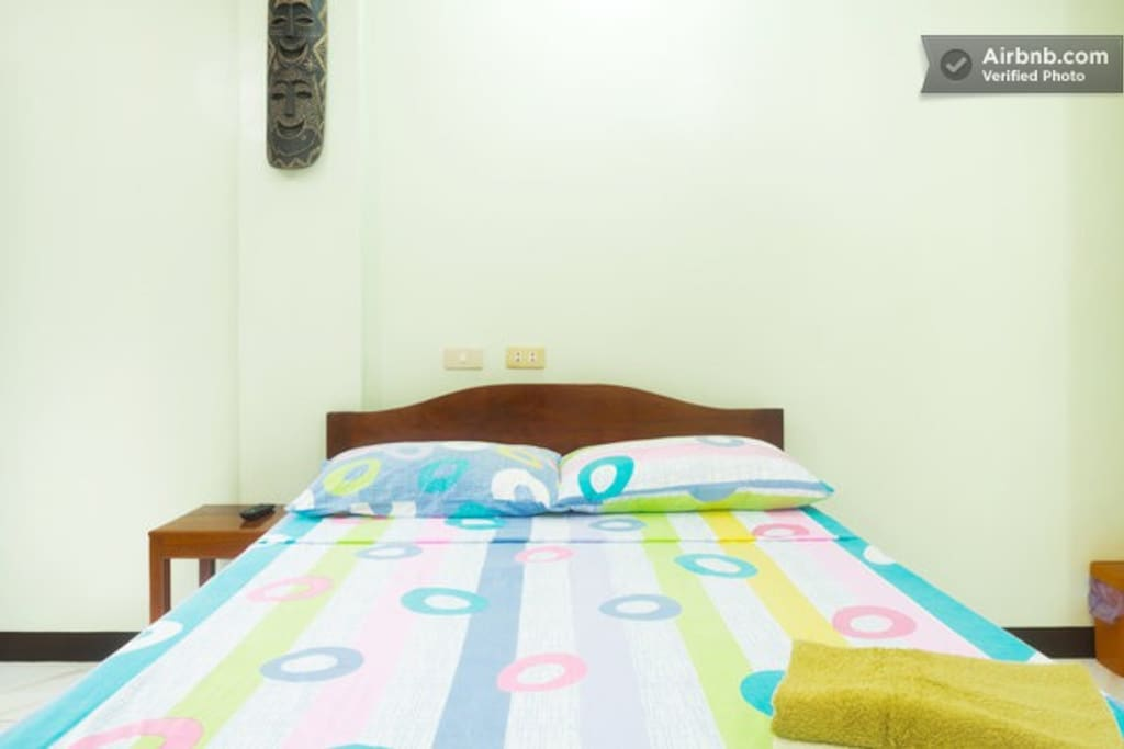 Your room with real bed 200 x 140 cm sitting area and air conditioner.