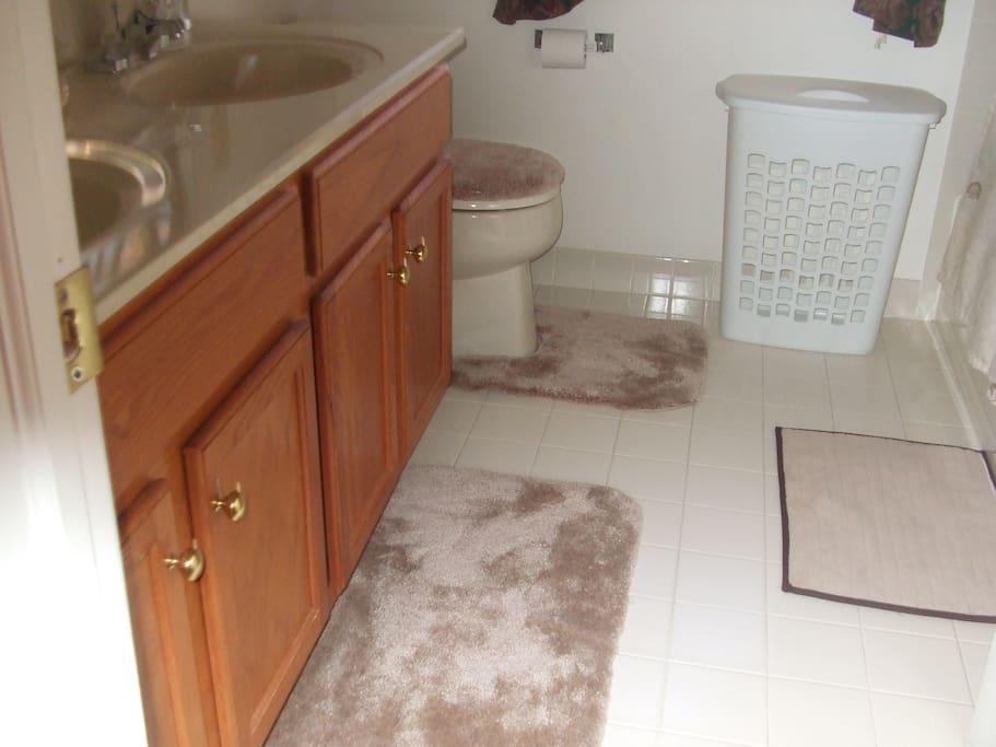 Double Sized Vanity in bathroom